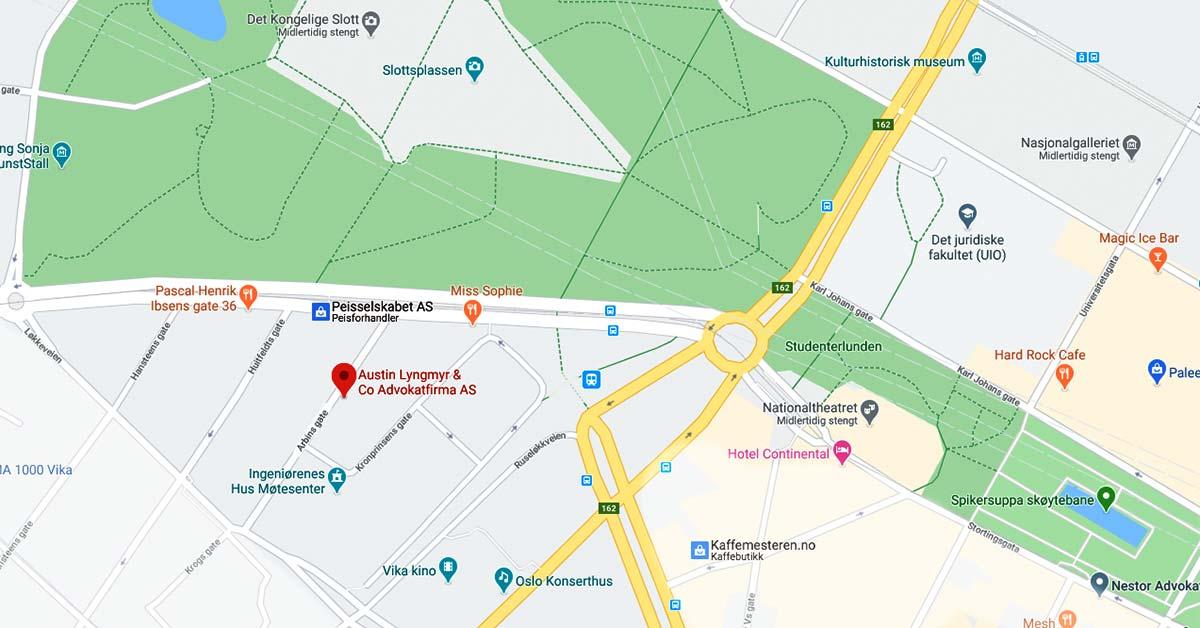 Mellom slottet, Nationalteateret og Frogner og Tjuvholmen